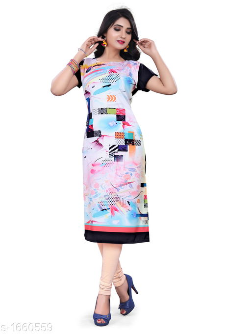 Kurtis & Kurtas Stylish Heavy Crepe Women's Kurti  *Fabric* Heavy Crepe  *Sleeves* Sleeves Are Included  *Size* M - 38 in, L - 40 in, XL - 42 in, XXL - 44 in  *Length* Up To 47 in  *Type* Stitched  *Description* It Has 1 Piece Of Women's Kurti  *Work* Button Work  *Sizes Available* M, L, XL, XXL *   Catalog Rating: ★3.6 (4049)  Catalog Name: Ariya Stylish Heavy Crepe Women's Kurtis Vol 1 CatalogID_216431 C74-SC1001 Code: 332-1660559-