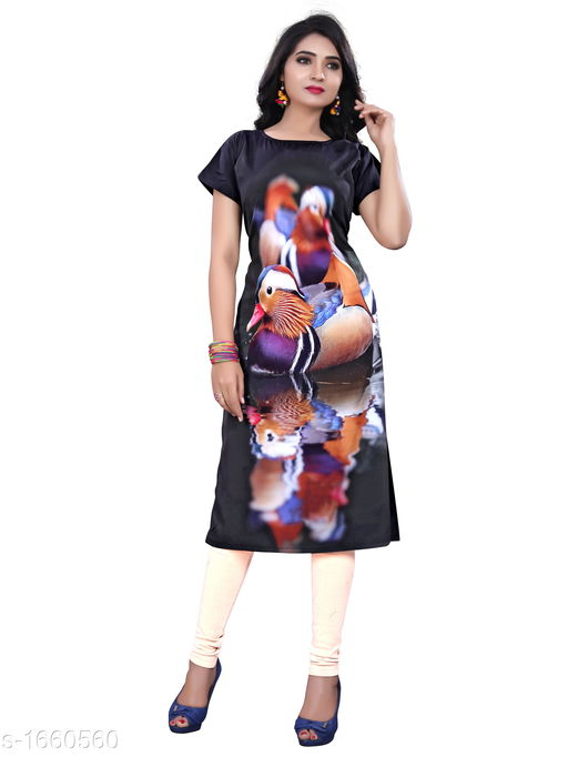 Kurtis & Kurtas Stylish Heavy Crepe Women's Kurti  *Fabric* Heavy Crepe  *Sleeves* Sleeves Are Included  *Size* M - 38 in, L - 40 in, XL - 42 in, XXL - 44 in  *Length* Up To 47 in  *Type* Stitched  *Description* It Has 1 Piece Of Women's Kurti  *Work* Button Work  *Sizes Available* M, L, XL, XXL *   Catalog Rating: ★3.6 (4049)  Catalog Name: Ariya Stylish Heavy Crepe Women's Kurtis Vol 1 CatalogID_216431 C74-SC1001 Code: 332-1660560-