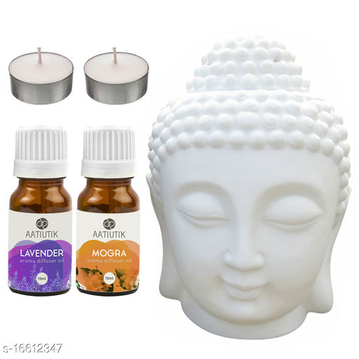 Aatiutik Ceramic Buddha Head Tlight Aroma Diffuser Night Lamp Light with Lavender Mogra Aroma Oil 10ml Each for Home Office Hotel Spa