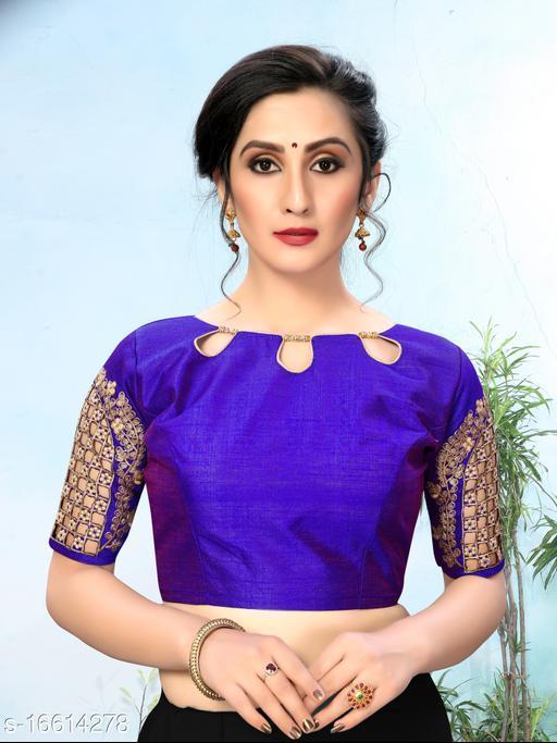 Fab Dadu Women's Embroidered Blue Phantom Silk Blouse With Round Neck (BL-20053-Blue)_Free_Size