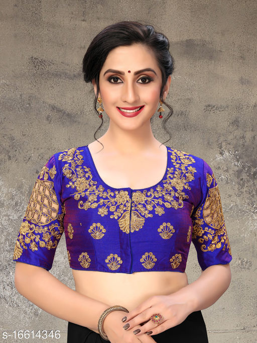 Fab Dadu Women's Embroidered Blue Phantom Silk Blouse With Round Neck (BL-20054-Blue)_Free_Size