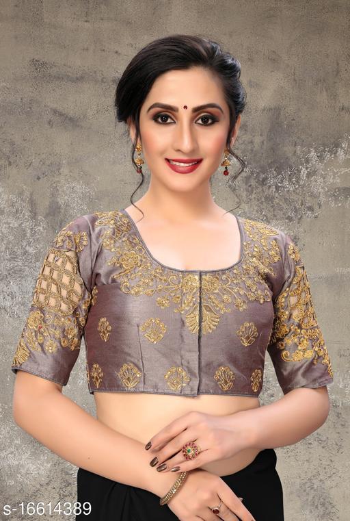 Fab Dadu Women's Embroidered Grey Phantom Silk Blouse With Round Neck (BL-20054-Grey)_Free_Size