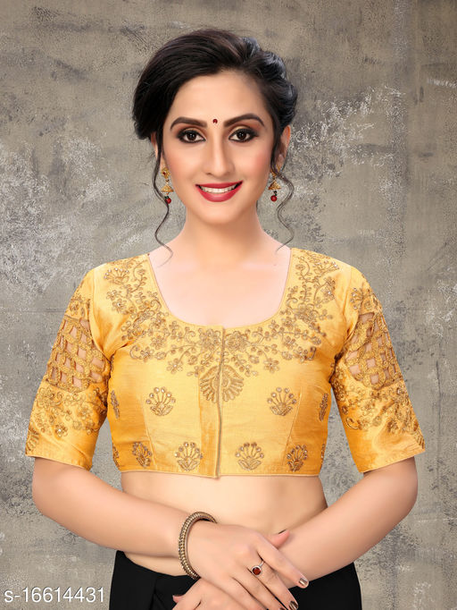 Fab Dadu Women's Embroidered Beige Phantom Silk Blouse With Round Neck (BL-20054-Beige)_Free_Size