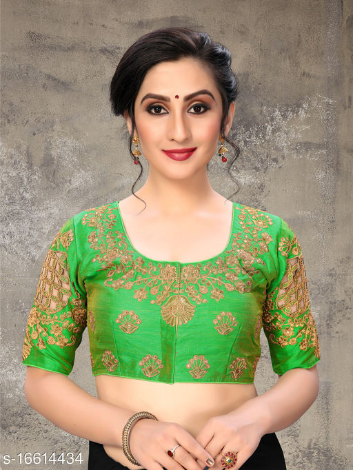 Fab Dadu Women's Embroidered Green Phantom Silk Blouse With Round Neck (BL-20054-Green)_Free_Size