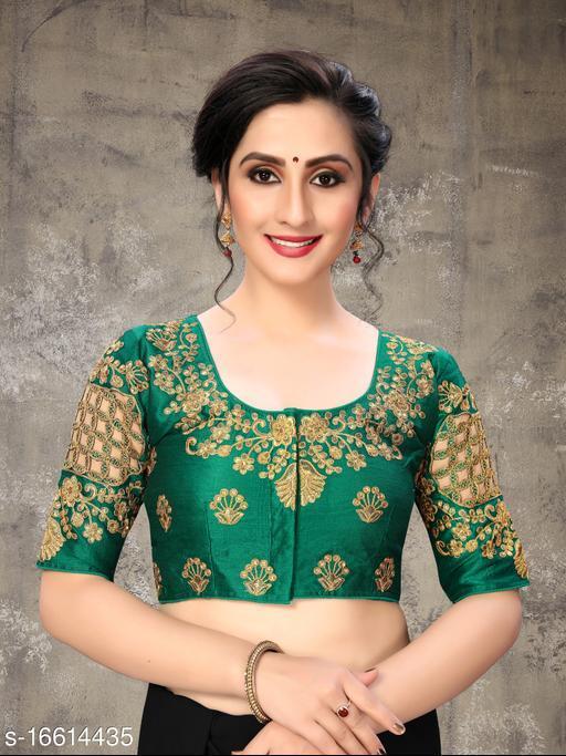 Fab Dadu Women's Embroidered Dark Green Phantom Silk Blouse With Round Neck (BL-20054-Dark_Green)_Free_Size