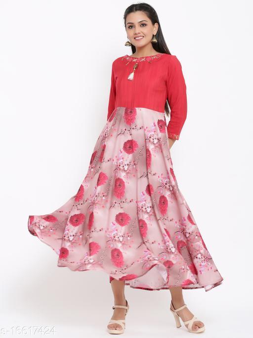 Women Silk Anarkali Gown