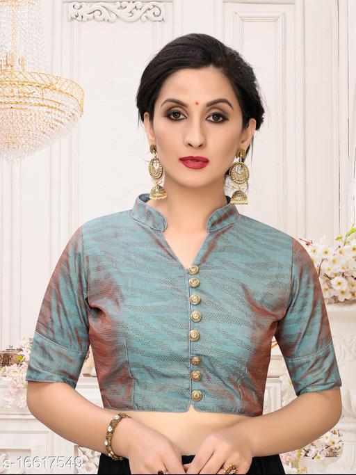 Fab Dadu Women's Printed Grey Silk Blouse With Collar Neck  ( BL-20041-Grey)_Free_Size