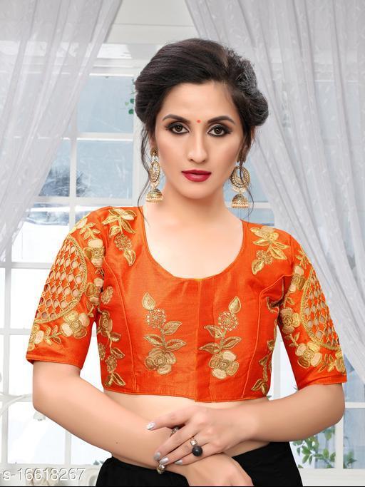 Fab Dadu Women's Embroidered Orange Phantom Silk Blouse With Round Neck  ( BL-20036-Orange)