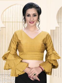 Fab Dadu Women's  Yellow Silk Blouse With V Neck ( BL-20023-Yellow )