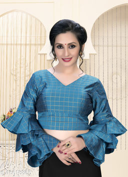 Fab Dadu Women's  Light_Blue Silk Blouse With V Neck ( BL-20023-Light_Blue )