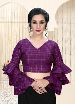 Fab Dadu Women's  Magenta Silk Blouse With V Neck ( BL-20023-Magenta )