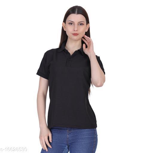 Polo-neck T-shirt for Girls ladies women - Black