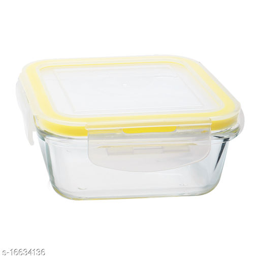 Lemon Tree Borosilicate Glass Lunch Box, Home Kitchen Klip & Store Microwavable Containers, 320 ml, Set of 1