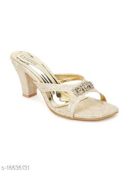 Estatos Synthetic Leather Pointed Heeled Gold Sandal