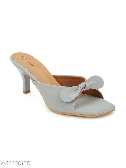 Estatos Synthetic Leather Pointed Heeled Grey Sandals