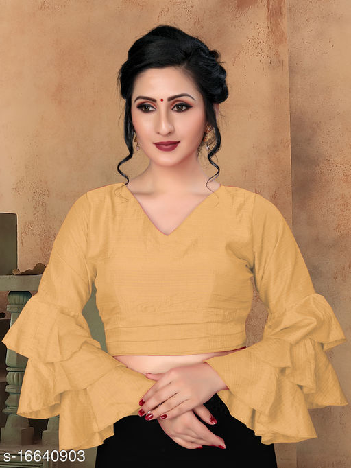 Fab Viva Women's Beige Silk Blouse With V Neck ( BL-20013-Beige )