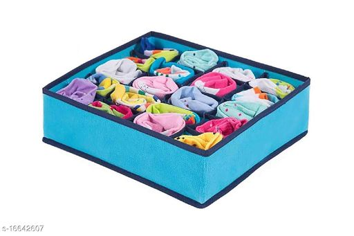 TradeVast Storage Boxes Organize Clothes Toys Lingries And Helping to Make Your Home More Beautiful & Clean Set of 4 (SKY)