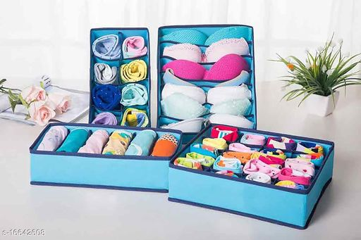 TradeVast Storage Boxes Organize Clothes Toys Lingries And Helping to Make Your Home More Beautiful & Clean Set of 4 (SKY Blue)