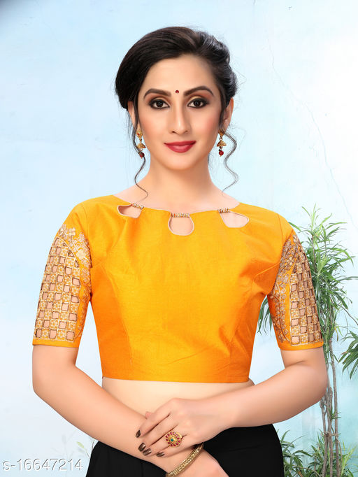 Fab Viva Women's Embroidered Yellow Phantom Silk Blouse With Round Neck (BL-20053-Yellow)_Free_Size