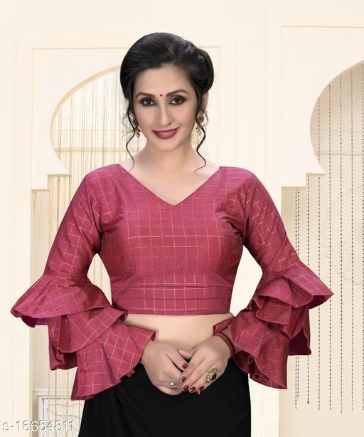 Shubh Sanidhya Women's  Light_Pink Silk Blouse With V Neck ( BL-20023-Light_Pink )
