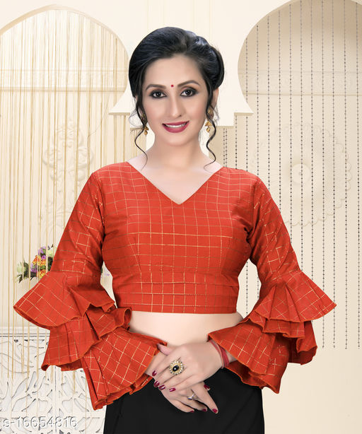 Shubh Sanidhya Women's  Red Silk Blouse With V Neck ( BL-20023-Red )