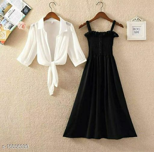 Stylish and Trendy Black Dress with White Shirt In Combo Pack for Women's