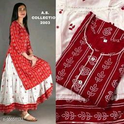 Women's Rayon Kurti Skirt Set
