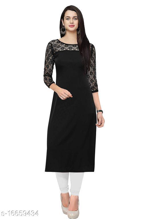 Womens Trending Round Neck Black Color Straight Kurti