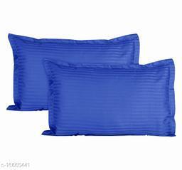 Jinaya's Striped Pillows Cover(Pack of 2, 46 cm*69 cm, Royal Blue)