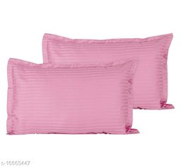 Jinaya's Striped Pillows Cover (Pack of 2, 46 cm*69 cm, Light Pink)