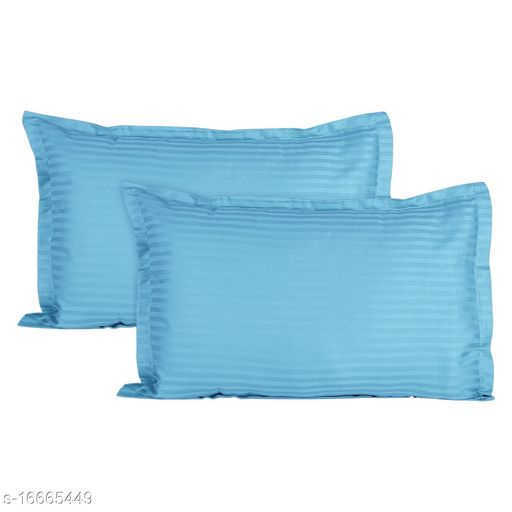 Jinaya's Striped Pillows Cover(Pack of 2, 46 cm*69 cm, Skyblue)