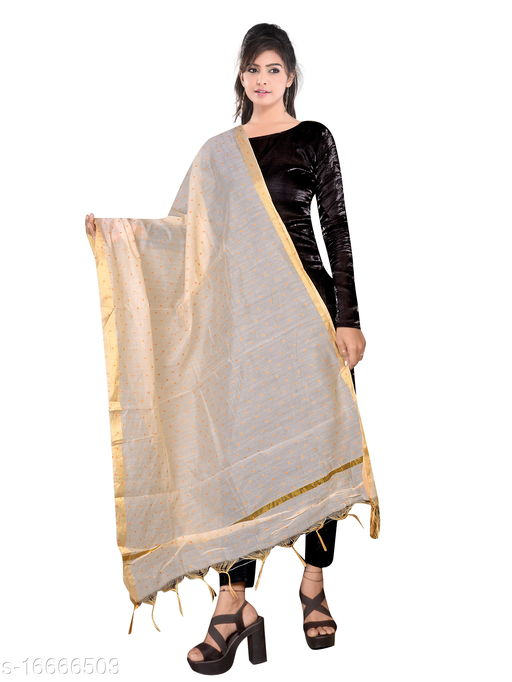 Traditional Jaipuri Party/Daily/Casual Wear Printed Chanderi Silk Gold Zari work Dupatta for Women's and Girl's