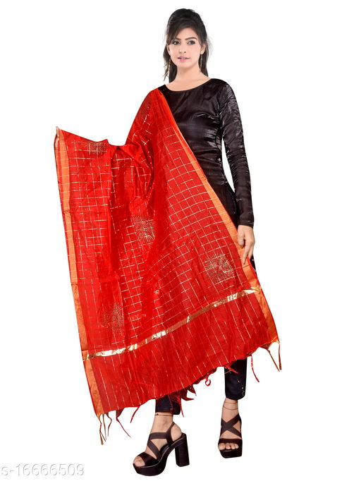 Traditional Jaipuri Party/Daily/Casual Wear Gold Checks Chanderi Silk Dupatta for Women's and Girl's