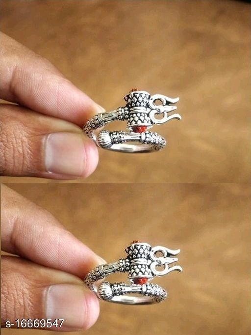 Rudraksha Trishul Damroo Oxidised Silver Plated Ring for Men/Women Combo of 2