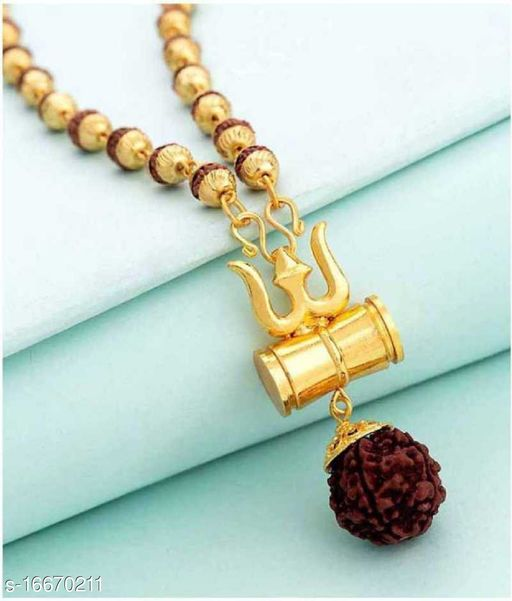 SILVER SHINE Gold Plated Traditional Rudraksh Mala Om Trishul Pendant for Men and Women Alloy Chain