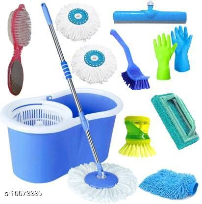 Classic Magic Dry Bucket Spin Mop- 360 Degree Self Spin Wringing With 3 Super Absorber + 1 Pedi Cleaner + 1 Tile Scrub + 1 Liquid Brush + 1 Glove + 1 Sink Cleaner + 1 Floor Wiper +1 rubber glove set  Mop Set