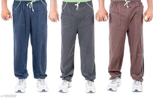 Trendy Cotton Hoisery Men's Track Pants( Set Of 3)