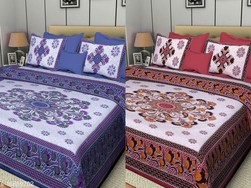Combo of Jaipuri 100% Cotton Bedsheets With 2 Pillow Covers