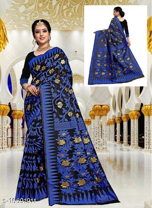 Women's floral Jamdani saree with Un-stitch Blouse