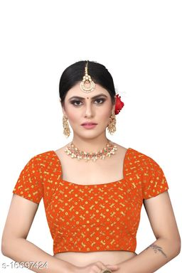 Women's Sequence Embroidered Benglori Silk Blouse With Round Neck