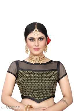 Women's Sequence Embroidered Benglori Silk & Net Blouse With Round Neck