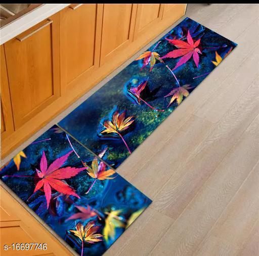 Rassic Kitchen Floor Mat & Runner with Anti Skid Backing, Set of 2 (40 x 120 & 40 x 60 cm)