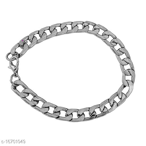 Sullery Link Chain Stainless Steel Silver Bracelet For Men And Women