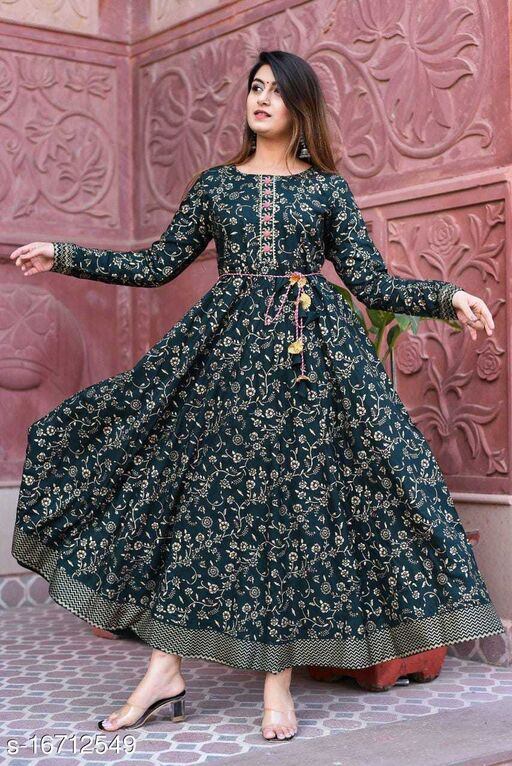 Stylish Floral Printed Anarkali Style Ankle Length Gown Kurti with Dori