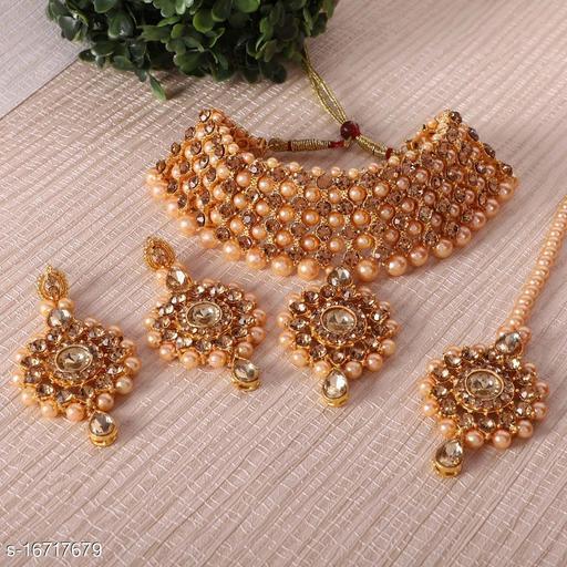 Gold Traditional Pearl Choker Set With Maangtikka, Earrings For Women