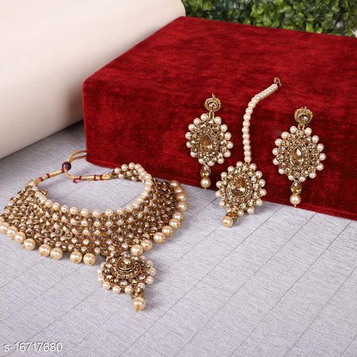 Copper Gold Pearl and Crystals Maang Tikka Earrings for Women : Bridal Jewellery