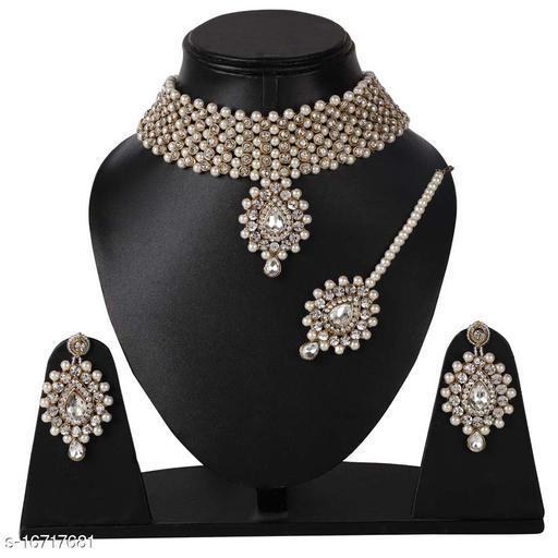 Copper Stone Zircon Jewellery Necklace Set with Maang Tikka Earrings for Women : Bridal Jewellery