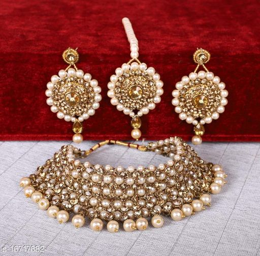 Artificial White Pearls and Golden Stone Choker Set With maang tikka, Earrings For Women