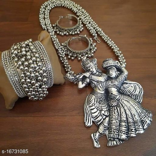 Oxidised Silver Ghungroo sparkling Radhe Krishna necklace with bracelet and earrings