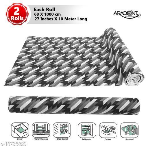 "ARADENT™ Multipurpose Non-Slip, Anti Skid, Easy Grip Washable PVC Shelf Roll for Kitchen Shelves, Cabinets ( 2 Roll, 27"" X 10 mtr, Black)"